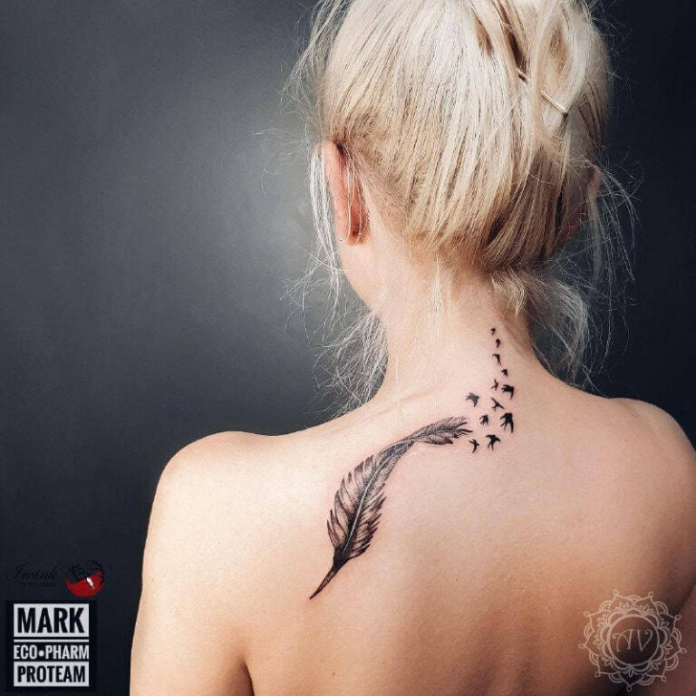 tatuaż na plecach - ptaki